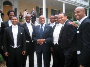 The tenors with legend Harry Belafonte after their performance at  Gracie Mansion in NYC L to R: Victor Robertson, James Berger, Kenneth Gayle,  Harry Belafonte, Ramone Diggs, Marvin Scott, Victor Simonson (Musical Director),  Duane A. Moody.
