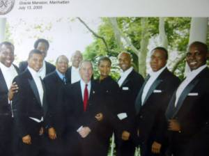 Cast and creative team of Three Mo' Tenors during the limited run at  the Shubert with Mayor Michael Bloomberg L to R Marvin Scott, Victor Roberson,  James Berger, Marion J. Caffey (Creator, Choreographer, Director), Willette Klausner (Producer), Duane A. Moody, Ramone Diggs, Kenneth Scott.