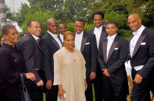 The tenors and producer Willette Klausner with the award winning  actress/director Phylicia Rashad at Gracie Mansion. L to R: Willette Klausner  (producer), Victor Simonson (Musical Direcctor), Kenneth Gayle, Philicia Rashad,  Marvin Scott, Duane Moody, James Berger, Victor Robertson, Duane A. Moody.