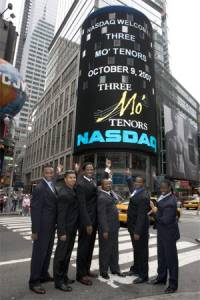 Three Mo' Tenors in Times Square after ringing the bell to start the  day's trading on the NASDAQ. L to R: Ramone Diggs, Victor Robertson, James  Berger, Sean T. Miller, Phumzile Sojola, Kenneth Alston.