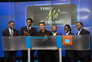 The two casts of Three Mo' Tenors kick of the show's limited  engagement at the Little Shubert by ringing the bell to open trading on the  NASDAQ. L to R: Ramone Diggs, James Berger, Victor Robertson, Sean T. Miller,  Kenneth Alston, Phumzile Sojola.