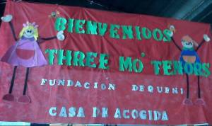 Children in Asuncion, Paraguay made a banner welcoming Three Mo' Tenors.