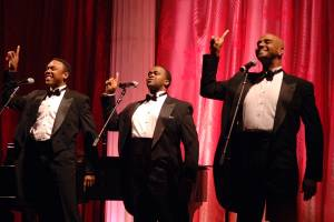Three Mo' Tenors performing at Gracie Mansion for Mayor Bloomberg and celebrities. L to R: Ramone Diggs, Phumzile Sojola, Duane A. Moody.